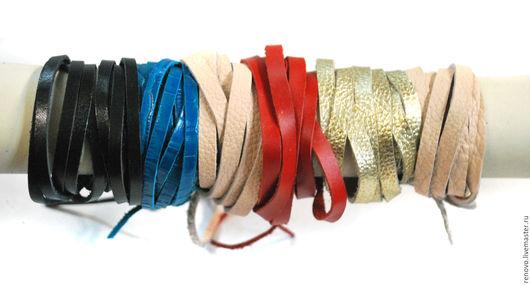 Браслеты ручной работы. Ярмарка Мастеров - ручная работа. Купить Браслеты из полосок кожи в два оборота на завязках. Handmade. Комбинированный