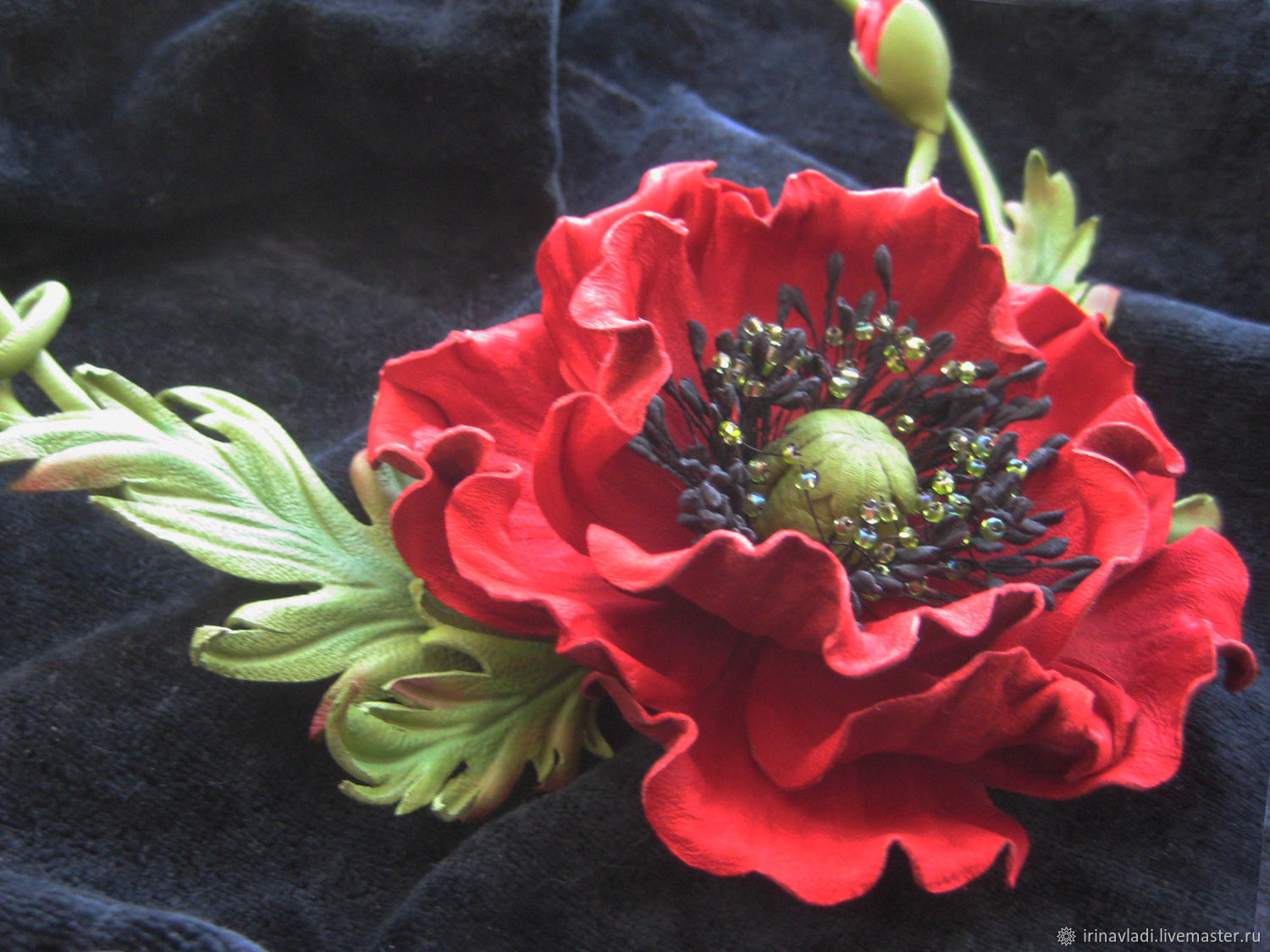 leather necklace, floral necklace, flowers necklace, red necklace,green necklace, necklace made of leather with flowers, poppy, necklace, necklace leather, leather flowers necklace