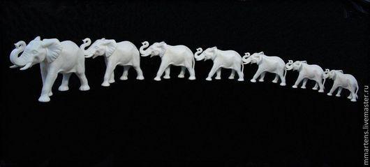 Статуэтки ручной работы. Ярмарка Мастеров - ручная работа. Купить Слоны из фарфора. Handmade. Белый, слоны, СССР, караван слонов