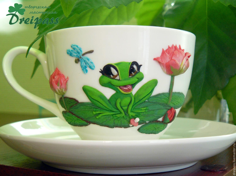 A Couple Of Tea Little Frog With The Decor Polymer Clay Zakazat Na Yarmarke Masterov 7kkhlcom Kruzhki I Chashki Rostov On Don