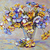Картины и панно handmade. Livemaster - original item Oil painting flowers Pansies, flowers in a vase, order a picture. Handmade.