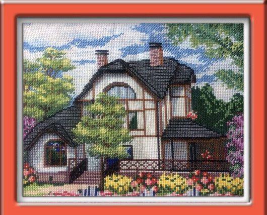 Пейзаж ручной работы. Ярмарка Мастеров - ручная работа. Купить Загородный дом. Handmade. Картина в подарок, картина вышитая, дача