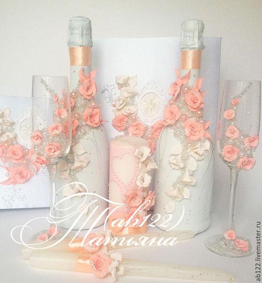 Свадебные аксессуары ручной работы. Ярмарка Мастеров - ручная работа. Купить Свадебный набор в персиковом цвете. Handmade. Разноцветный