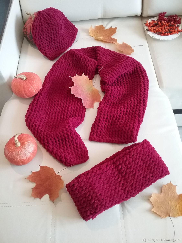 Комплект шарф, шапка и снуд бордо, Шапки, Самара,  Фото №1