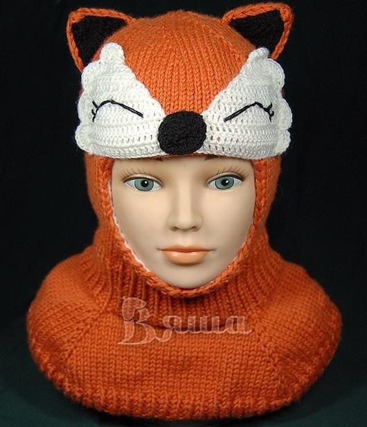 Шапки и шарфы ручной работы. Ярмарка Мастеров - ручная работа. Купить Шапка-шлем Лисичка для девочки, вязаная, шапочка Лиса зимняя. Handmade.