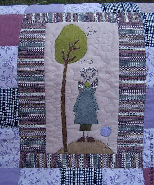 """Текстиль, ковры ручной работы. Ярмарка Мастеров - ручная работа. Купить """"Ангельская семейка"""", лоскутное одеяло.. Handmade. Сиреневый"""