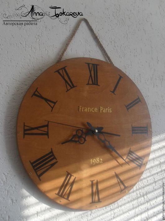 """Часы для дома ручной работы. Ярмарка Мастеров - ручная работа. Купить Часы настенные большие, роспись """"Кантри"""". Handmade. Коричневый"""