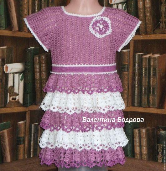 Одежда для девочек, ручной работы. Ярмарка Мастеров - ручная работа. Купить Платье вязанное крючком для девочки.. Handmade. Брусничный