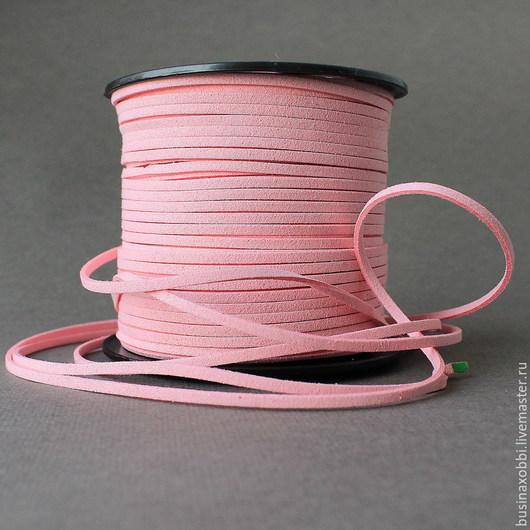 Шнур замшевый 3х2 мм Розовый Шнур из мягкого велюра розового цвета, для создания основ для ваших кулонов, подвесок.