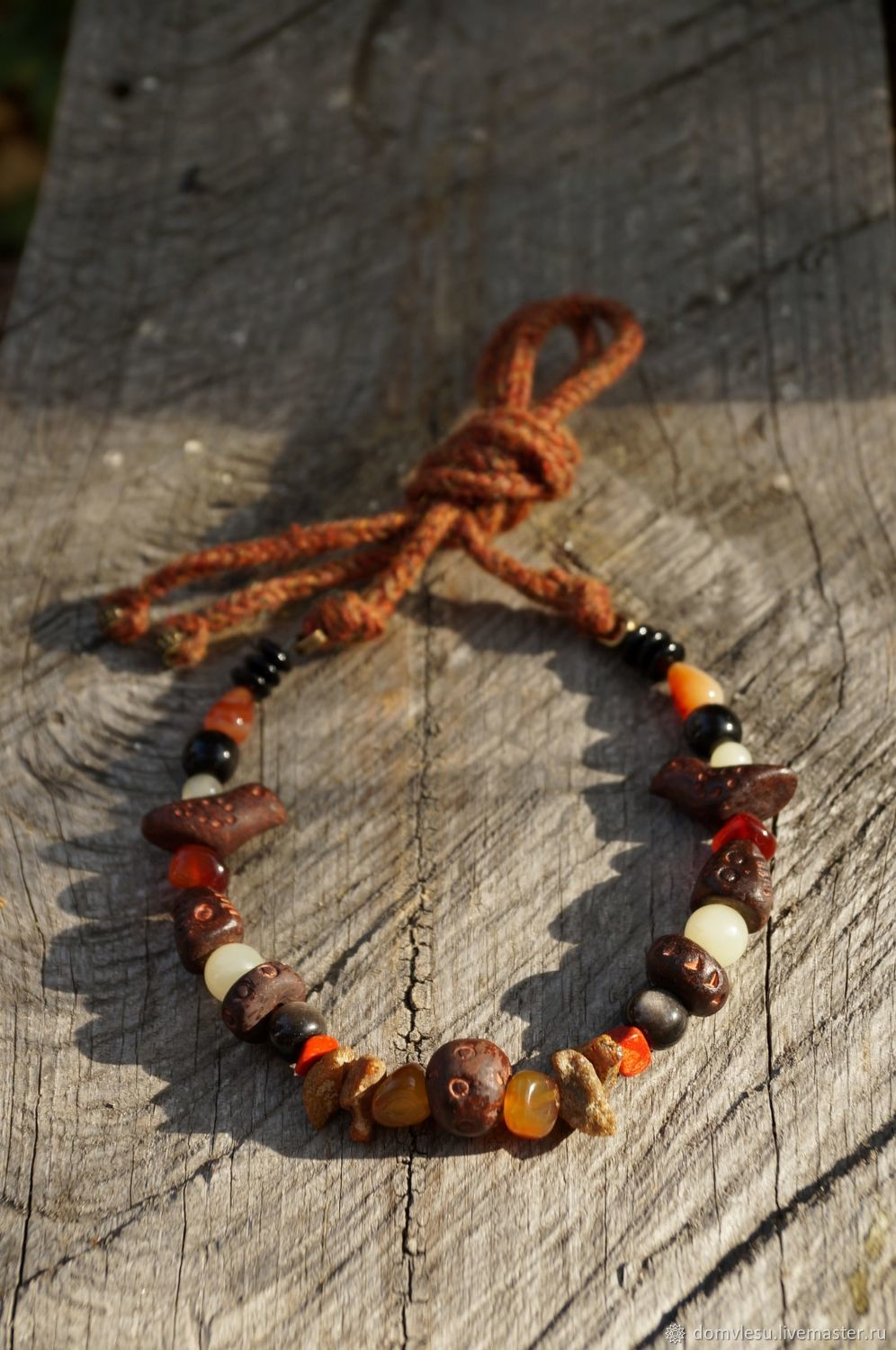 Product copy double row necklace with coral and birds, Beads2, Ramon,  Фото №1
