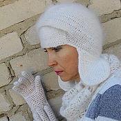 Аксессуары ручной работы. Ярмарка Мастеров - ручная работа шапочка с ушками белая. Handmade.