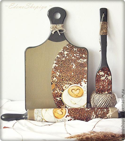 """Декоративная посуда ручной работы. Ярмарка Мастеров - ручная работа. Купить Набор для кухни """"Капучино"""". Handmade. Разноцветный, коричневый, шпагат"""