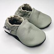 Одежда детская handmade. Livemaster - original item Gray Baby Shoes, Ebooba, Leather Baby Shoes, Baby Moccasins Gray. Handmade.