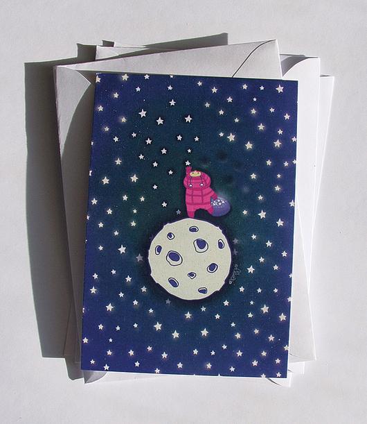 """Открытки на все случаи жизни ручной работы. Ярмарка Мастеров - ручная работа. Купить открытка """"Достать до звезд"""". Handmade. Тёмно-синий"""