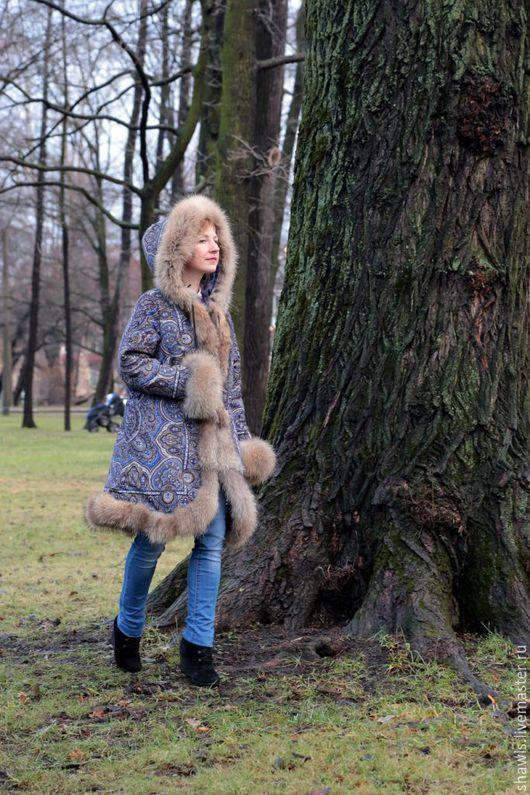 """Верхняя одежда ручной работы. Ярмарка Мастеров - ручная работа. Купить Пальто из платка """"Ларец самоцветный"""". Handmade. Синий"""