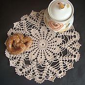 Для дома и интерьера ручной работы. Ярмарка Мастеров - ручная работа Вязаная бежевая салфетка в винтажном  стиле  Тишина. Handmade.