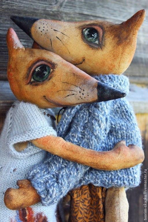 Ароматизированные куклы ручной работы. Ярмарка Мастеров - ручная работа. Купить Влюбленные лисы. Handmade. Рыжий, интерьерная игрушка, шёлк
