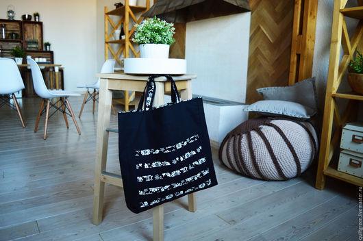 Женские сумки ручной работы. Ярмарка Мастеров - ручная работа. Купить Сумка текстильная. Handmade. Черно-белая, сумка