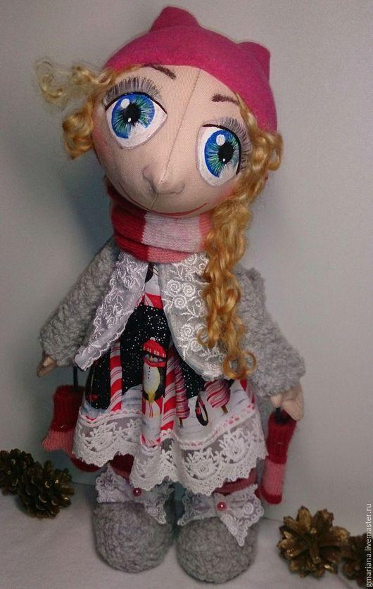 Куклы тыквоголовки ручной работы. Ярмарка Мастеров - ручная работа. Купить Текстильная кукла из серии Снежка. Handmade. Разноцветный, большеножка