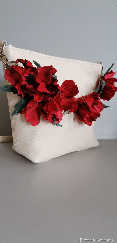 Bag leather women's crossbody bag hobo small Maki milk, Crossbody bag, Krasnodar,  Фото №1