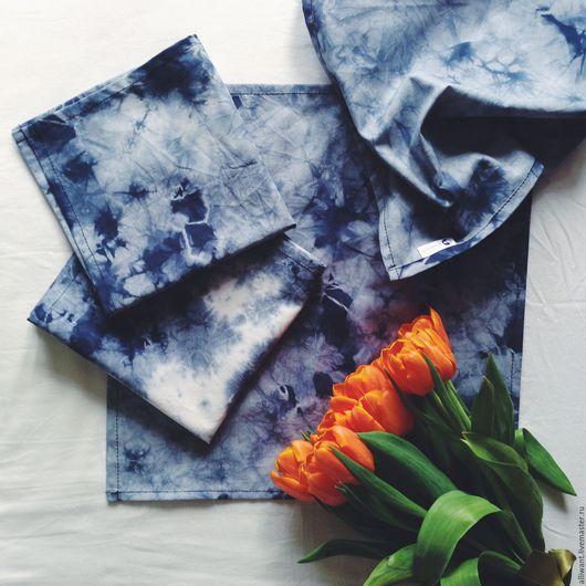 Текстиль, ковры ручной работы. Ярмарка Мастеров - ручная работа. Купить Cалфетки шибори 40х40 см. Handmade. Тёмно-синий