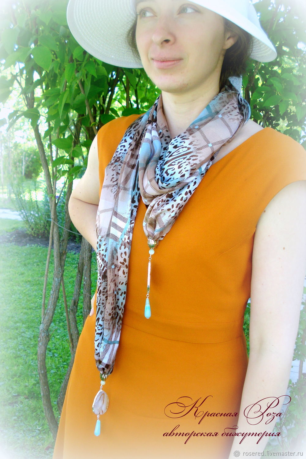 Stole in turquoise tones, Necklace, Stupino,  Фото №1