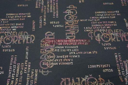 Шитье ручной работы. Ярмарка Мастеров - ручная работа. Купить Ткань кост. хлопок буквы итал., 150 см, синий. Handmade.