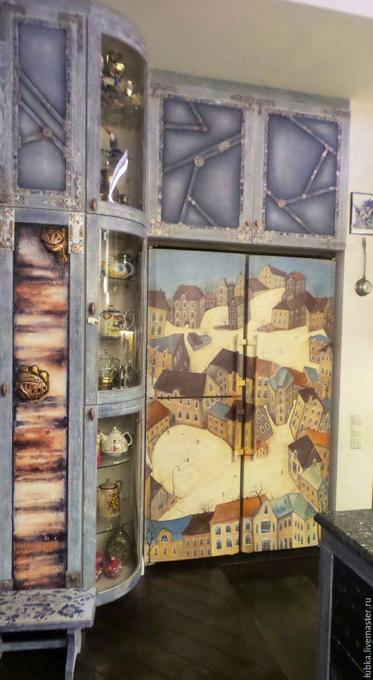 Декор поверхностей ручной работы. Ярмарка Мастеров - ручная работа. Купить Роспись холодильника домики в стиле наив. Handmade. Комбинированный