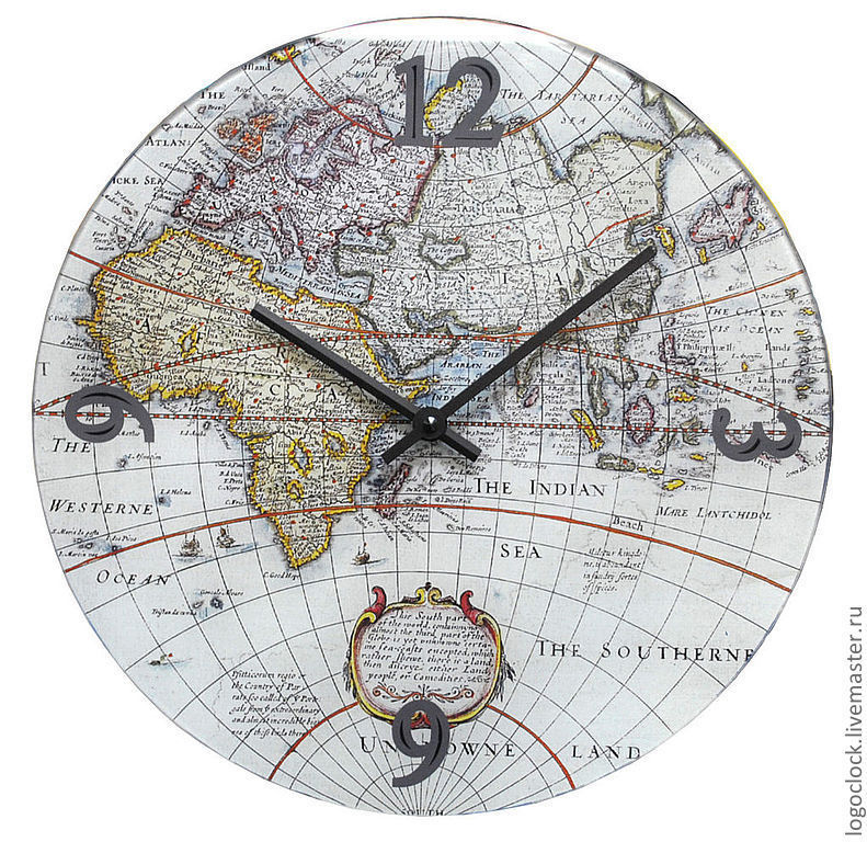 Wall clock 'Old world map', Watch, Moscow,  Фото №1