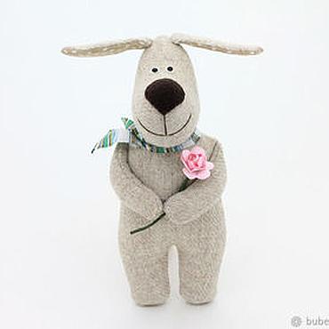 Куклы и игрушки ручной работы. Ярмарка Мастеров - ручная работа Собака Верный Друг, собачки ручной работы, бежевый с розовым. Handmade.