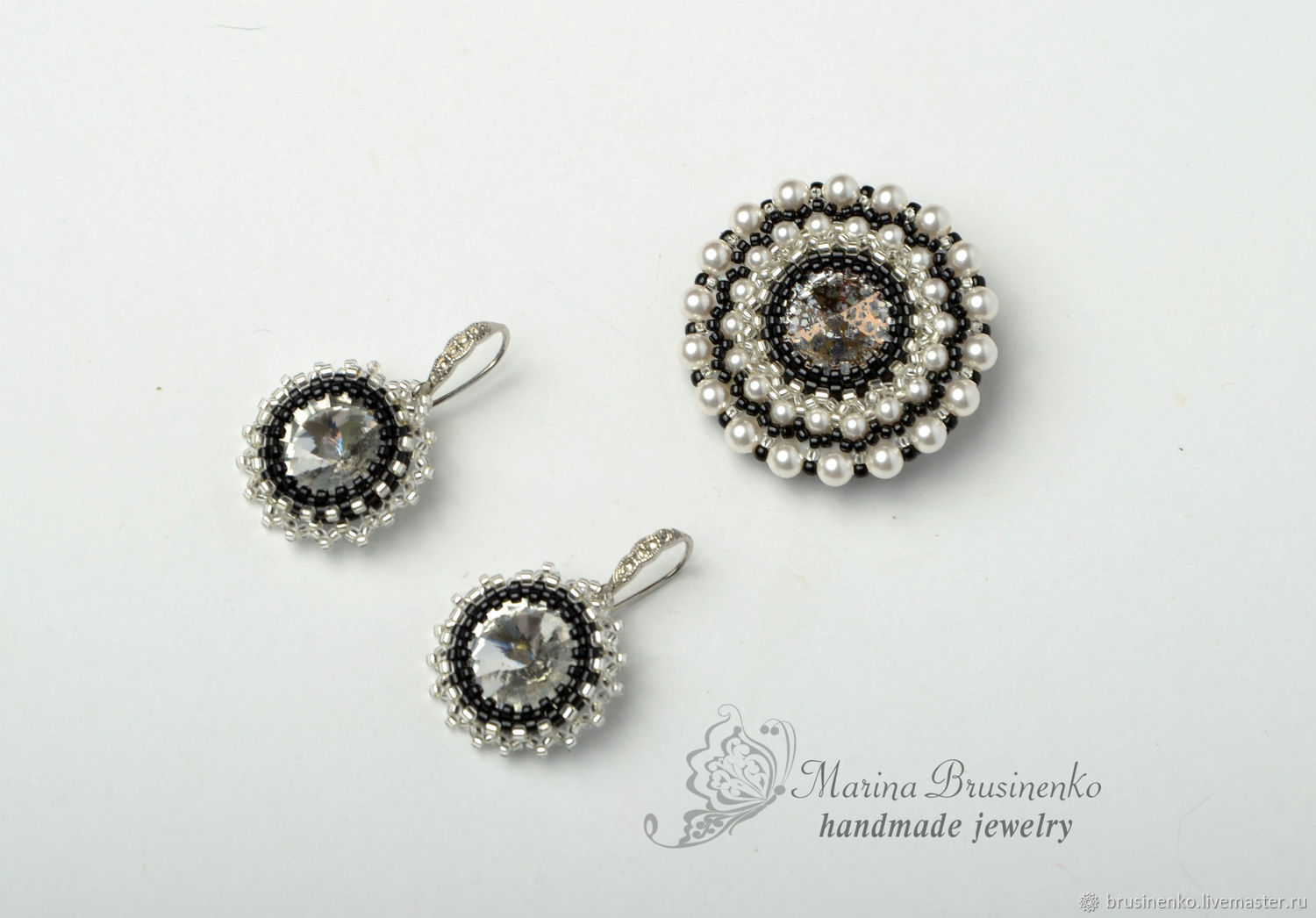 Brooch and earrings beaded crystal Classic black white, Jewelry Sets, Novosibirsk,  Фото №1