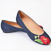 Обувь ручной работы. Ярмарка Мастеров - ручная работа Балетки с вышивкой мак. Handmade.
