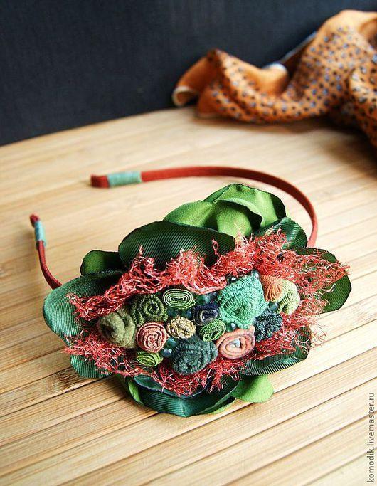 """Диадемы, обручи ручной работы. Ярмарка Мастеров - ручная работа. Купить ободок """"Для рыженькой"""" с зелеными агатами. Handmade. Яркая"""