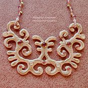 "Украшения handmade. Livemaster - original item Necklace in glass and beads"" Creamy mousse"", fusing, glass lace. Handmade."