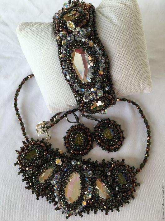 Сваровски ожерелье, браслет и серьги.