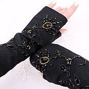 Аксессуары handmade. Livemaster - original item Black fingerless gloves embroidered with stones. Handmade.