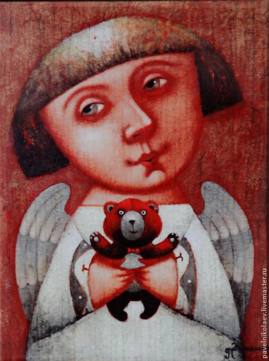 """Персональные подарки ручной работы. Ярмарка Мастеров - ручная работа. Купить """"Ангел с мишкой"""", авторская печать.. Handmade. Ангел"""