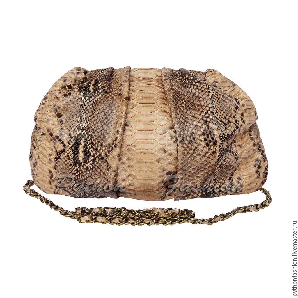 Evening clutch made of Python. Clutch of Python handmade. Fashionable clutch made from Python. Author clutch from Python custom. Women's clutch made of Python. Stylish clutch bag with long chain. Beto