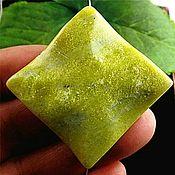 Материалы для творчества handmade. Livemaster - original item Large diamond-shaped olive jade bead 35 mm.. Handmade.
