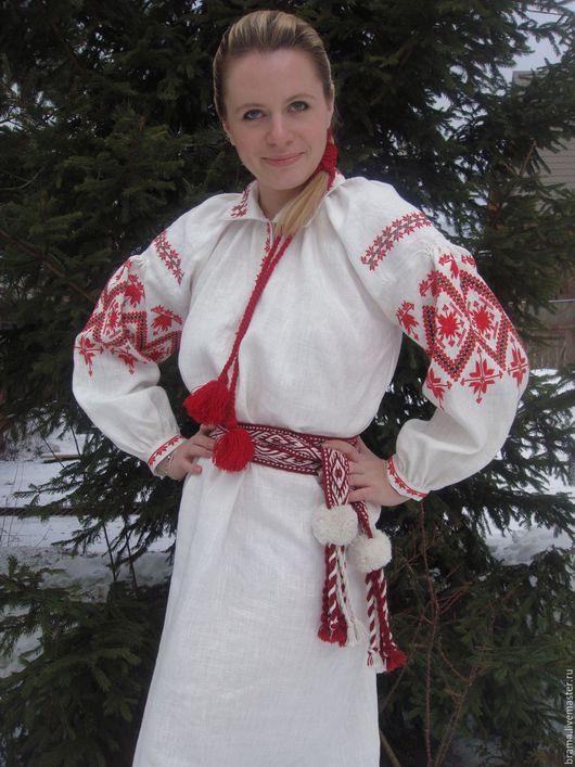 Одежда ручной работы. Ярмарка Мастеров - ручная работа. Купить Платье льняное с белорусским традиционным орнаментом. Handmade. Белый, лен