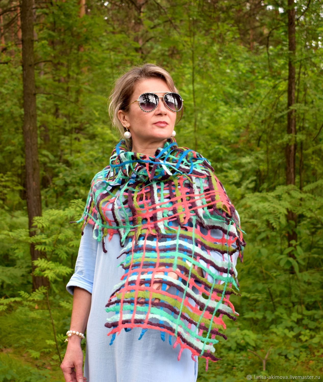 Palantin felted color Therapy, air mesh scarf, 40 x 170 cm cm, Wraps, Berdsk,  Фото №1