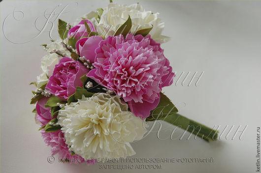 Свадебные цветы ручной работы. Ярмарка Мастеров - ручная работа. Купить Свадебный букет с пионами и розами. Handmade. Розовый, из фоамирана