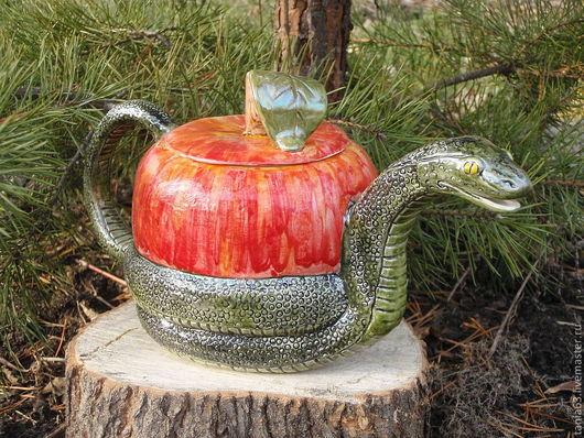 """Чайники, кофейники ручной работы. Ярмарка Мастеров - ручная работа. Купить Чайник """"Змей-искуситель"""". Handmade. Змея, керамическая посуда"""