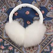 Аксессуары ручной работы. Ярмарка Мастеров - ручная работа Пушистые наушники из кролика. Handmade.