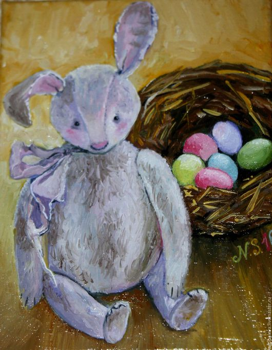 Натюрморт ручной работы. Ярмарка Мастеров - ручная работа. Купить Мини-картина маслом Пасхальный кролик 18 на 24 см. Handmade.