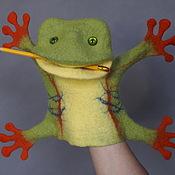Куклы и игрушки ручной работы. Ярмарка Мастеров - ручная работа Тропическая лягушка. Перчаточная кукла. Би-Ба-Бо.. Handmade.