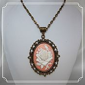 Субкультуры handmade. Livemaster - original item Pendant with cameo (rose, peach background). Handmade.
