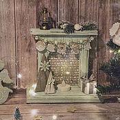 Сувениры и подарки handmade. Livemaster - original item Fireplace interior Mint New year. Decoupage fireplace. Handmade.