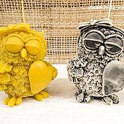 """Свечи ручной работы. Ярмарка Мастеров - ручная работа Свеча """"Сова с сердечком и цветами"""". Handmade."""