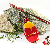 Украшения ручной работы. Ярмарка Мастеров - ручная работа Burning Flame Кулон лэмпворк красно-оранжевый. Handmade.